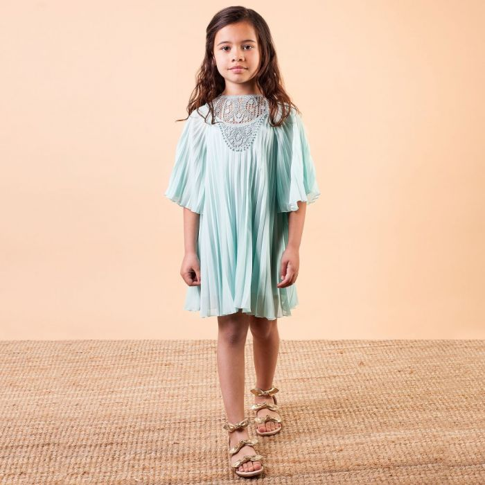 MINT GREEN CREPE CHIFFON DRESS