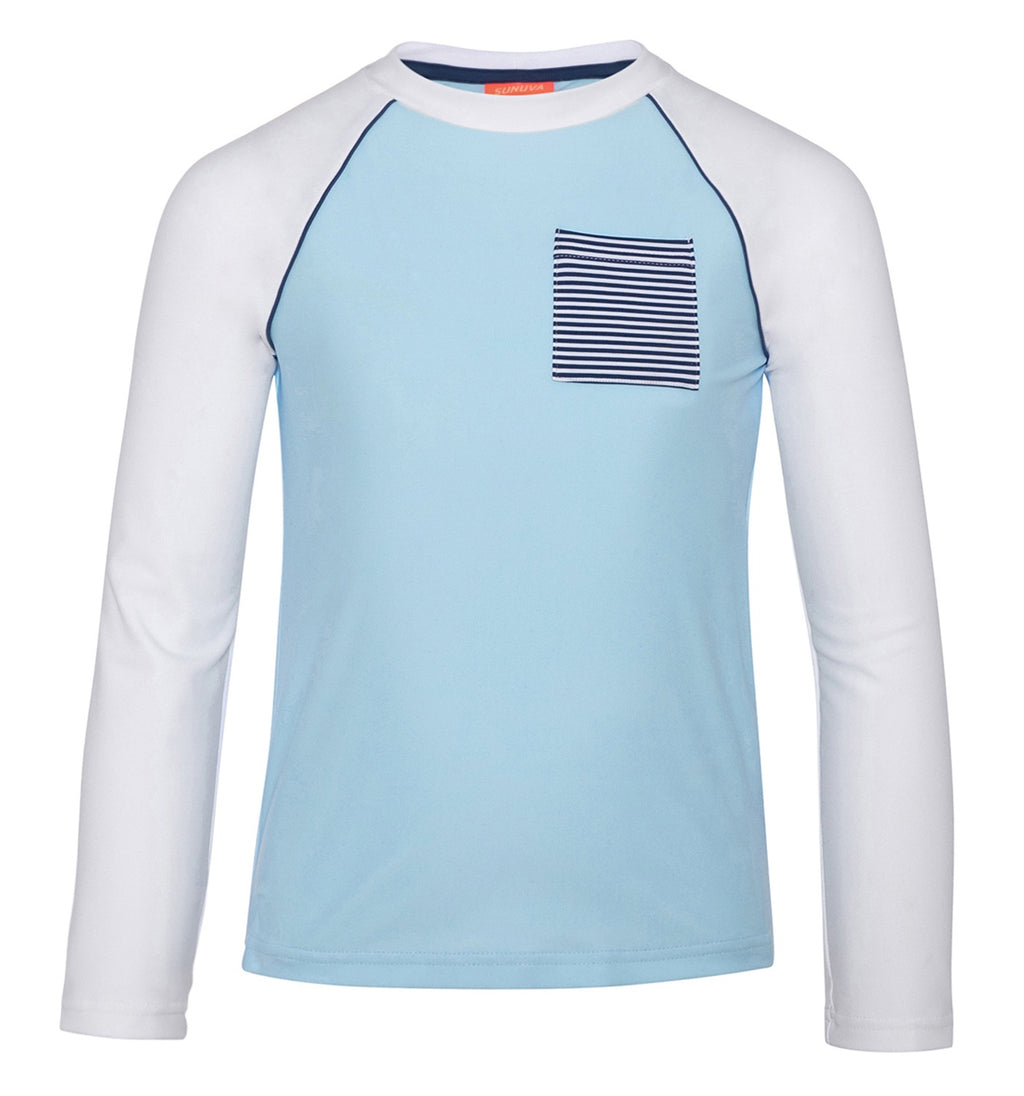 BOYS BLUE AND WHITE LONG SLEEVE RASH VEST
