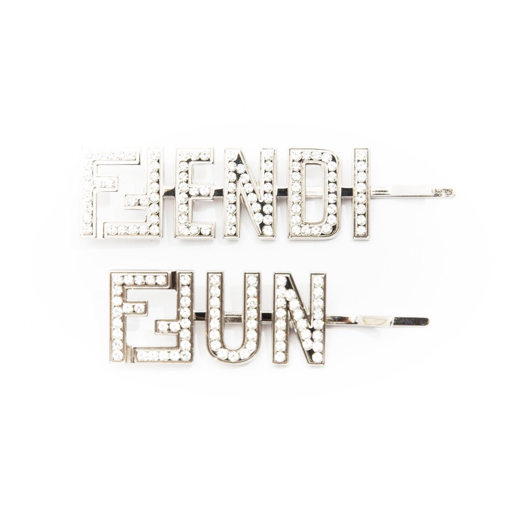 FENDI+FUN CRYSTAL EMBELLISHED HAIR SLIDES