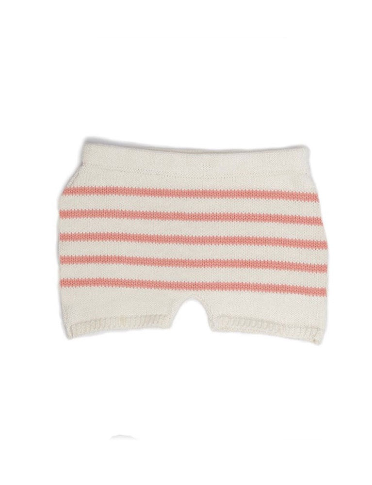 oeuf retro shorts-white/peach stripes