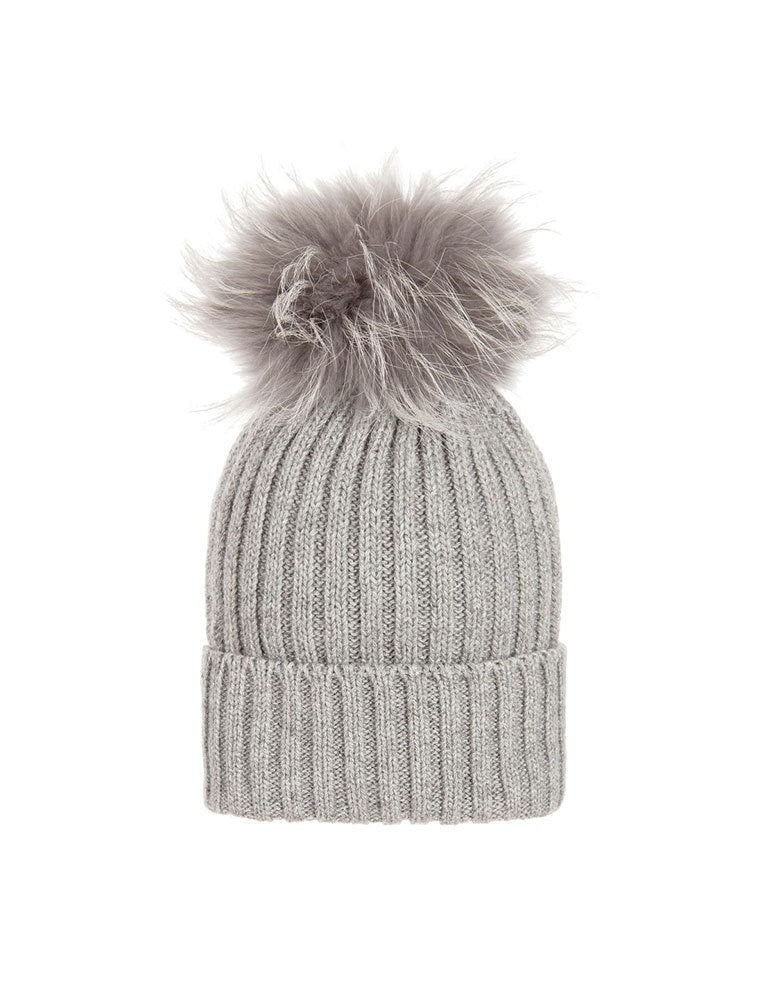 regina falena fox cuffia coste-hat in grey