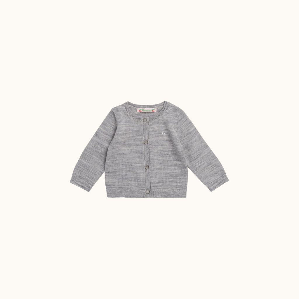 BABIES' CARDIGAN HEATHERED GRAY