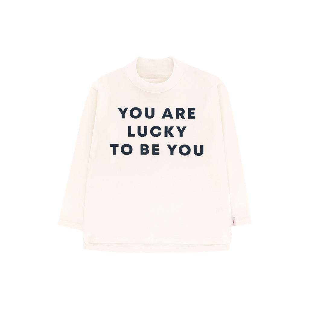 """YOU ARE LUCKY"" LS MOCK NECK TEE"