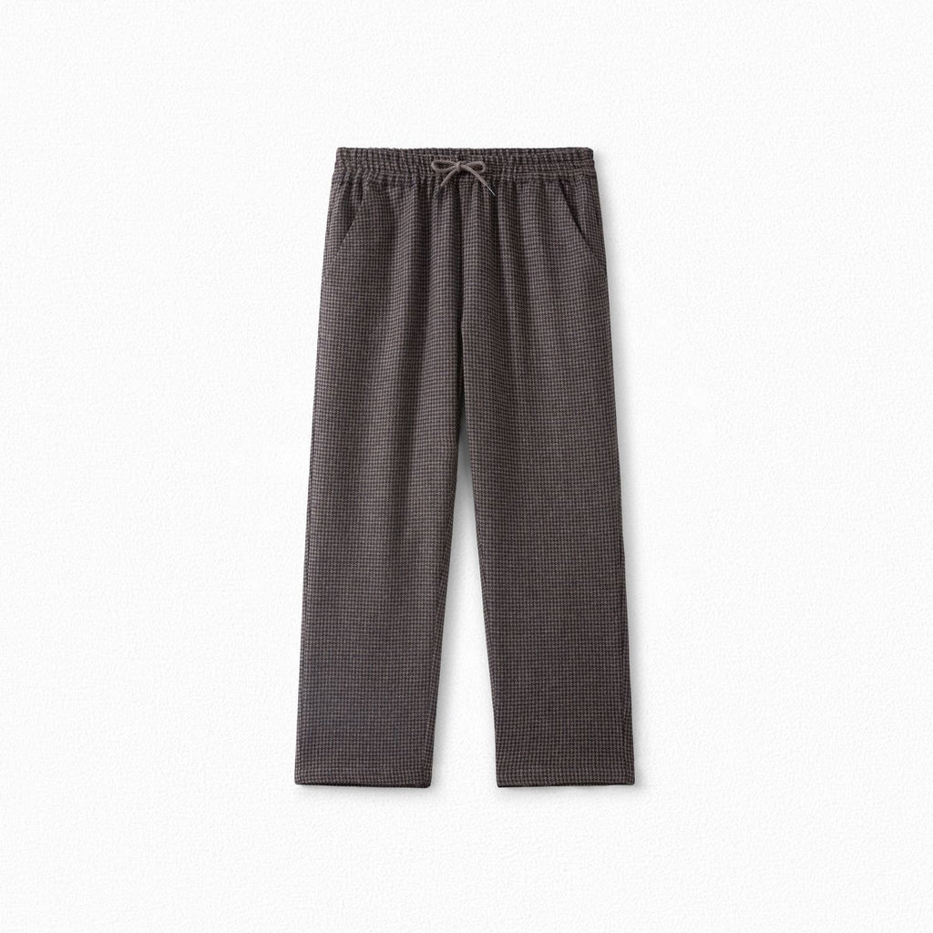 Straight-cut Checked Pants Taupe