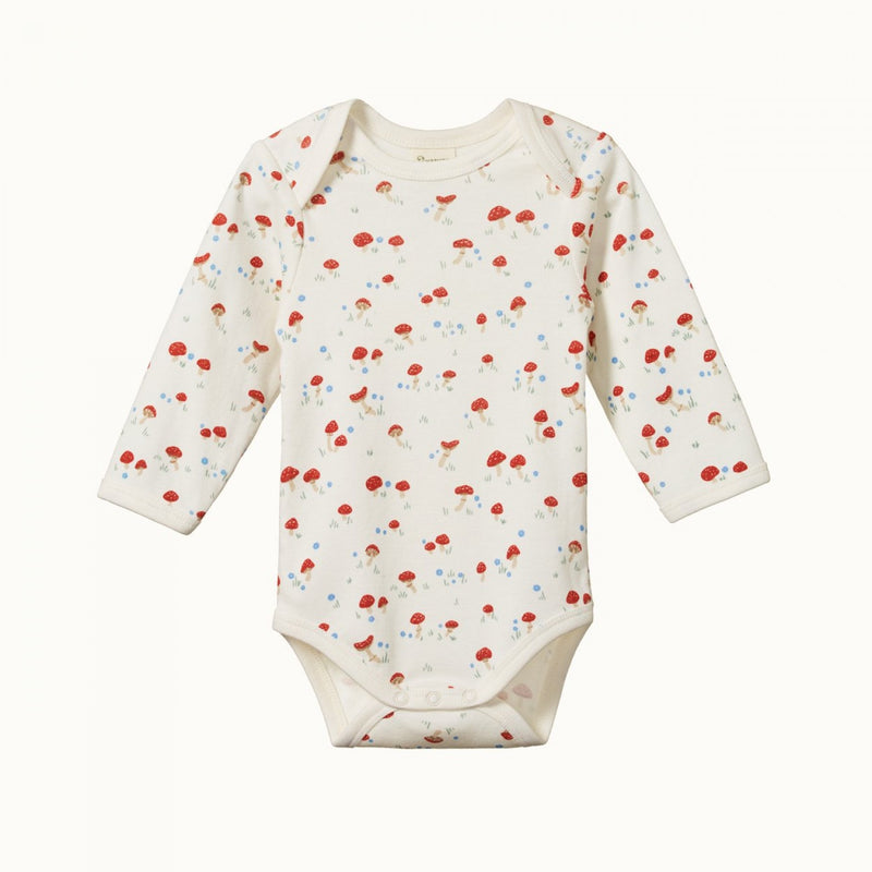 Cotton Long Sleeve Bodysuit Mushroom