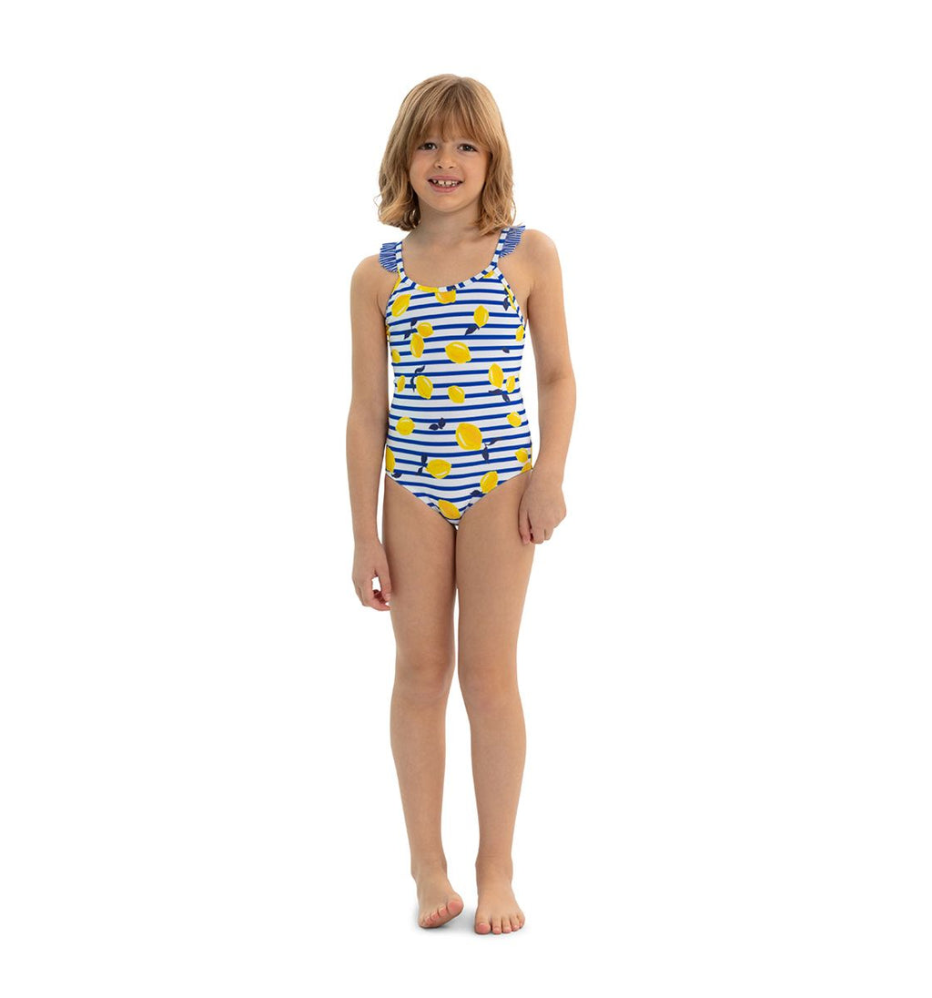 GIRLS BLUE SICILIAN LEMON FRILL STRAP SWIMSUIT