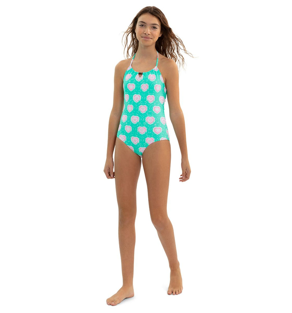GIRLS GREEN TIE DYE HEARTS BEADED SWIM SUIT