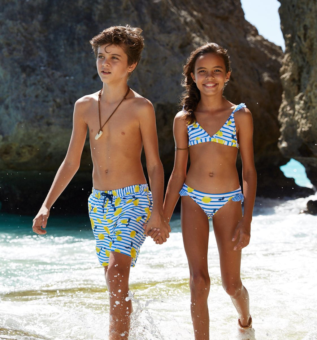 BOYS BLUE SICILIAN LEMON SWIM SHORTS