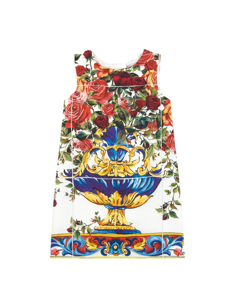 Mini Me printed silk dress Caltagirone