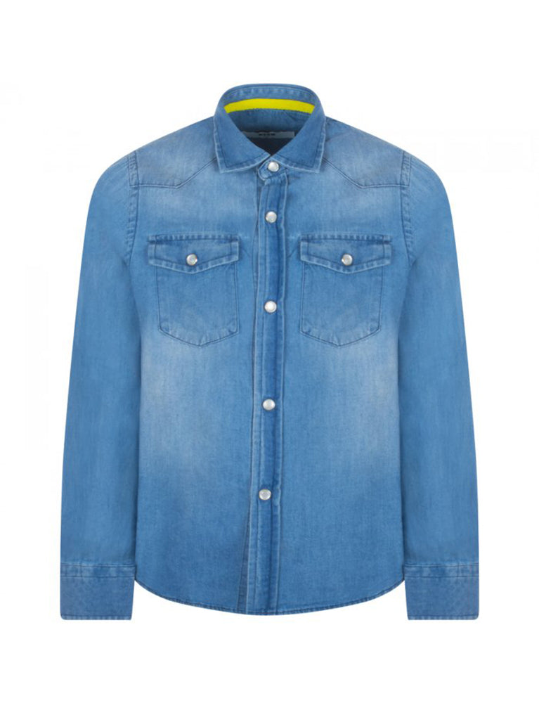 msgm jeans shirt boy in denim blue