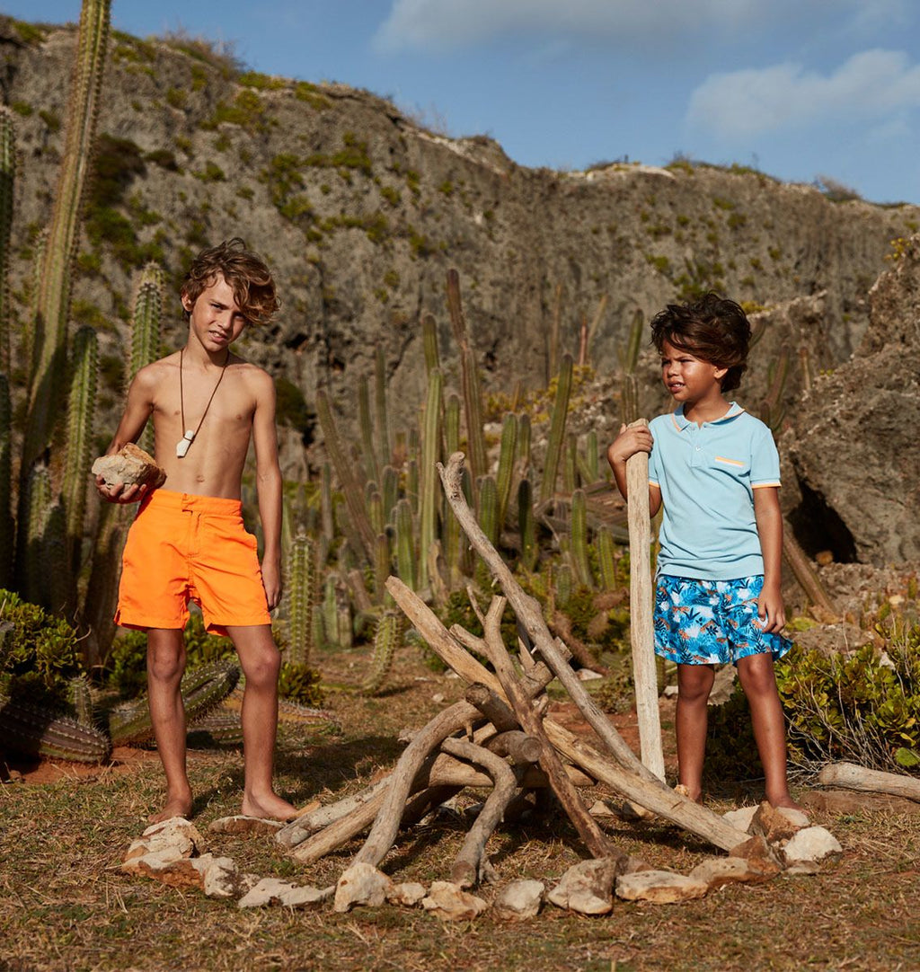 BOYS BLUE JUNGLE TIGER SWIM SHORTS
