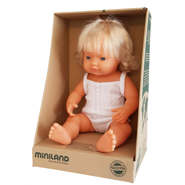 BRITNEY - Miniland Anatomically Correct Baby Doll Caucasian Girl, 38 cm