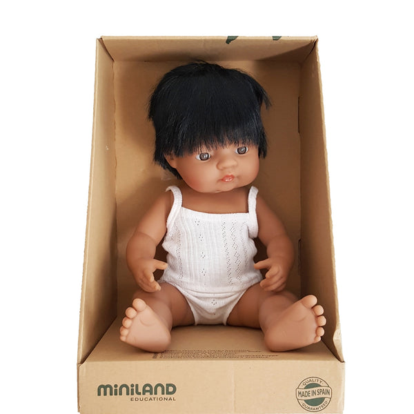 DIEGO - Miniland Anatomically Correct Baby Doll Latin Boy, 38 cm