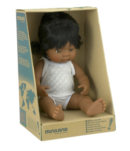 VALENTINA - Miniland Anatomically Correct Baby Doll Latin American Girl, 38 cm