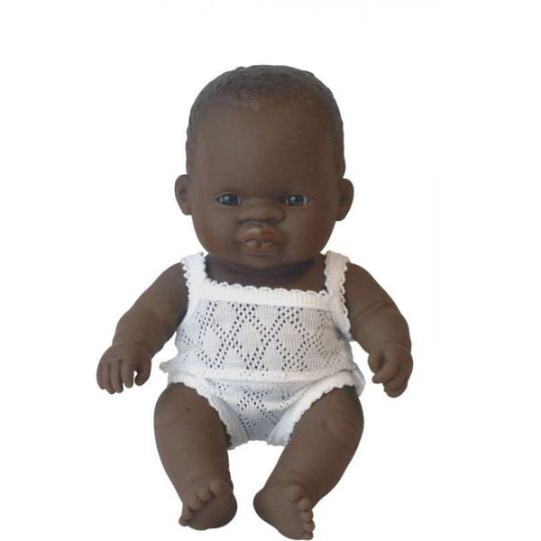 ZANE - Miniland Anatomically Correct Baby Doll African Boy, 21 cm