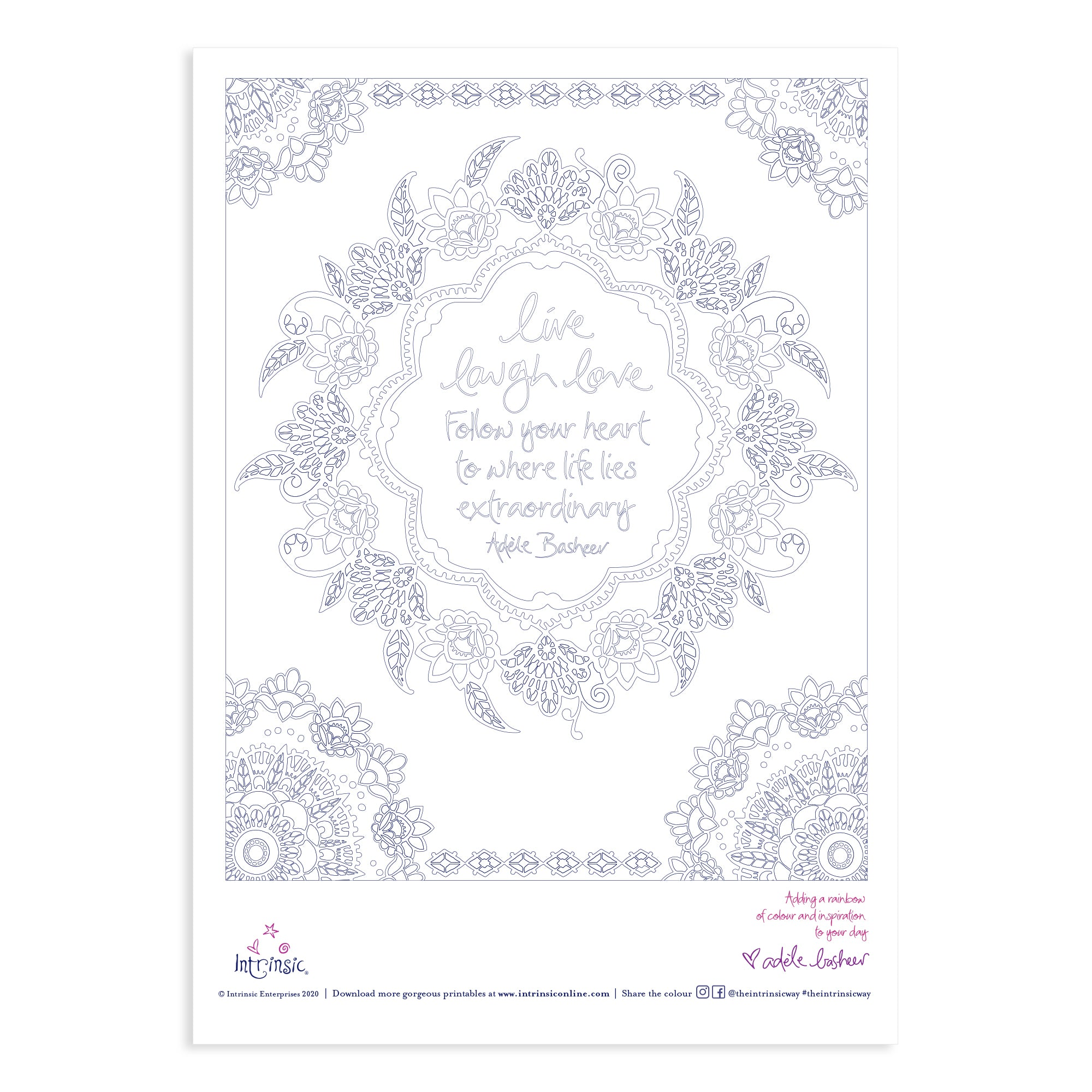 Intrinsic Live Laugh Love Colouring In Printable #23