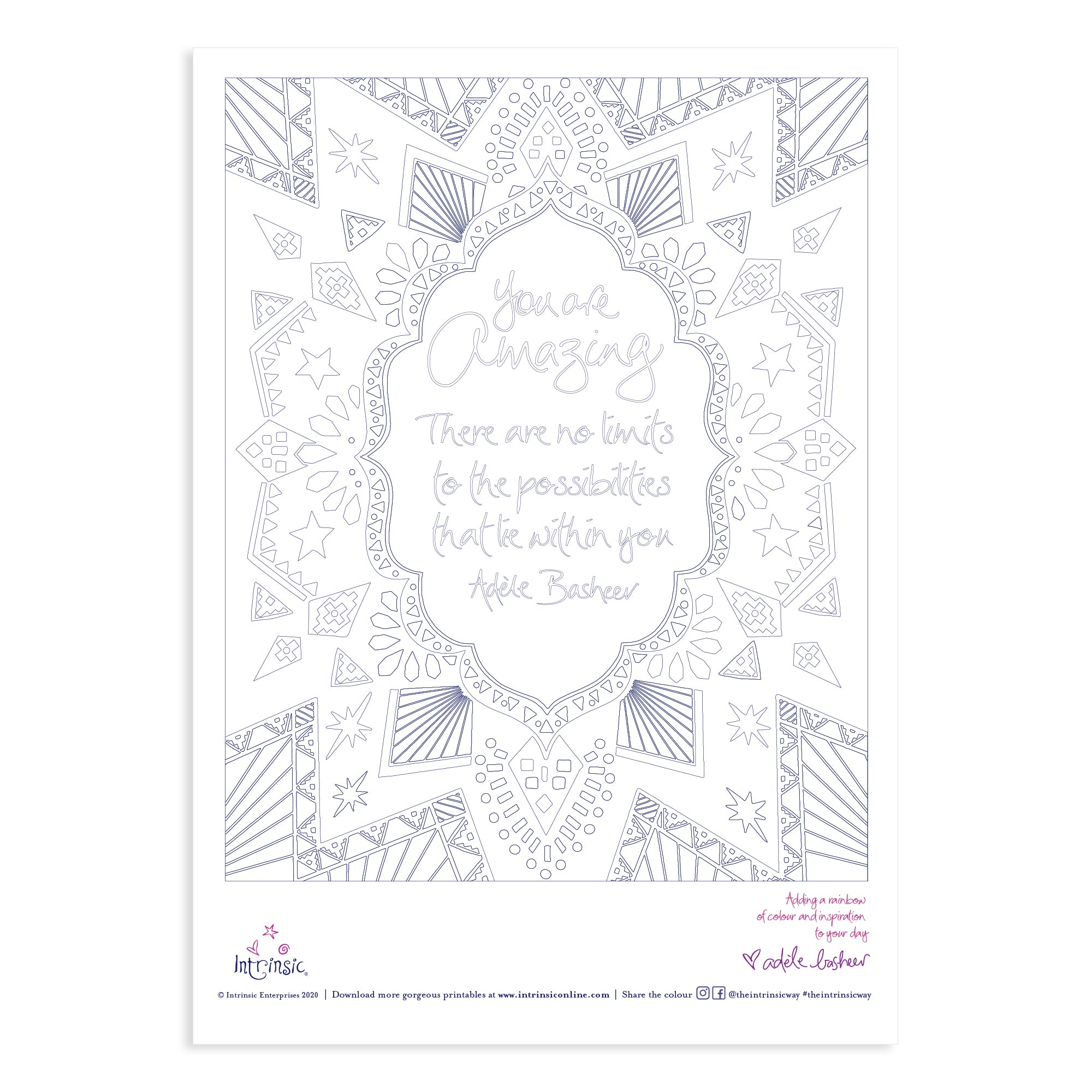 Download Intrinsic's Free You Are Amazing Colouring In Printable #24