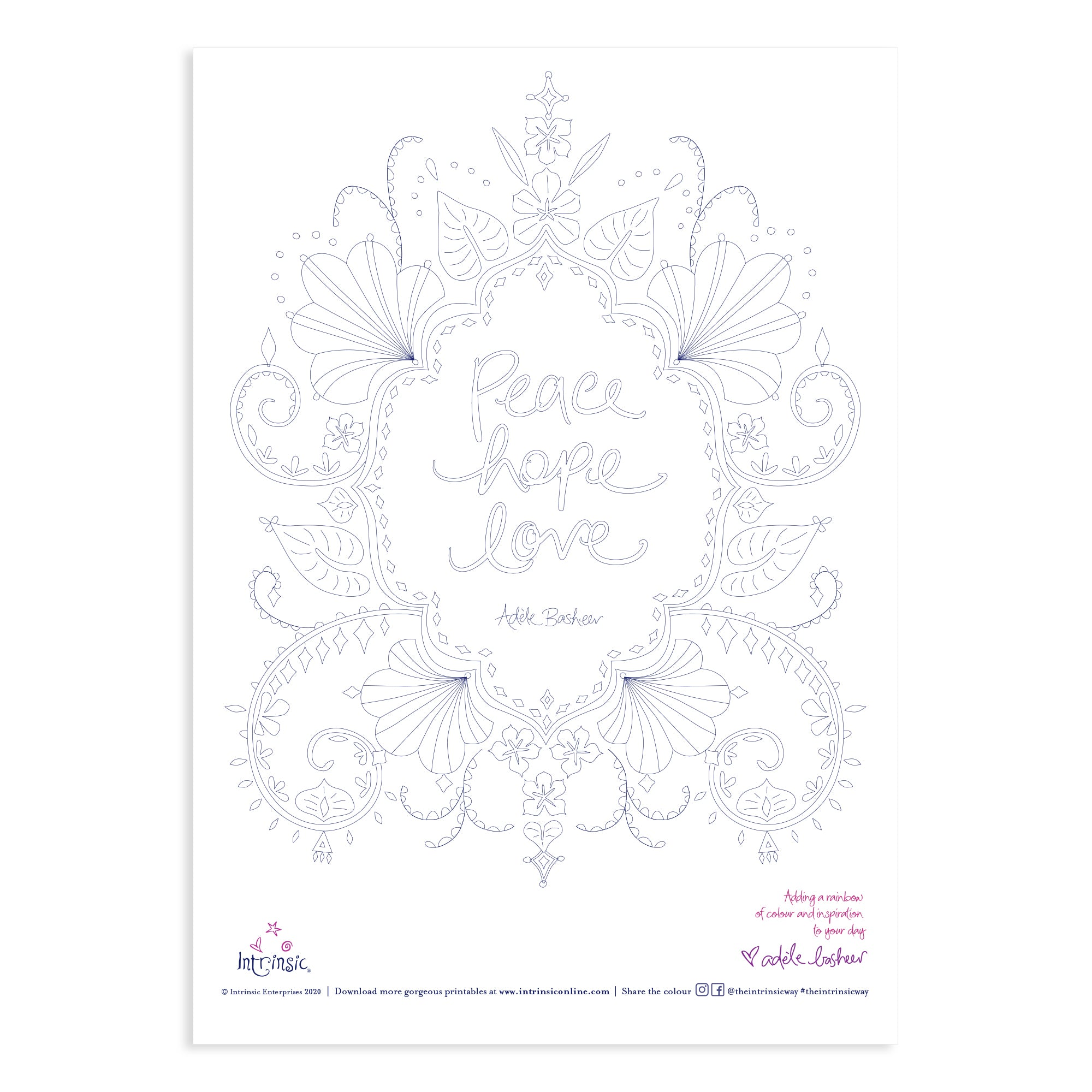 Intrinsic Peace Hope and Love colouring in printable #15