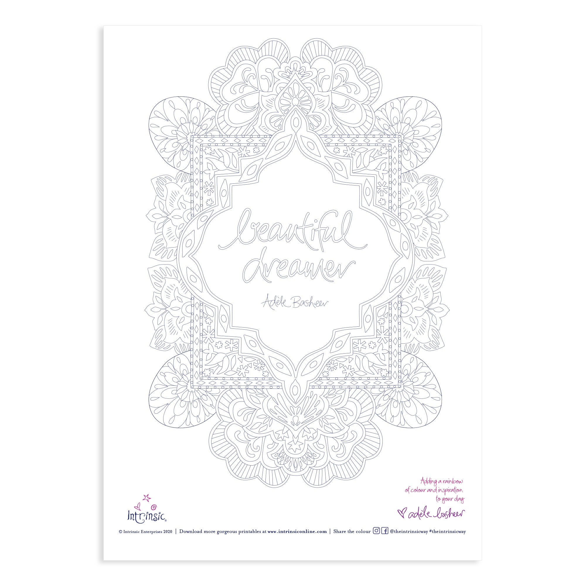 Intrinsic Beautiful Dreamer Colouring In Printable #16