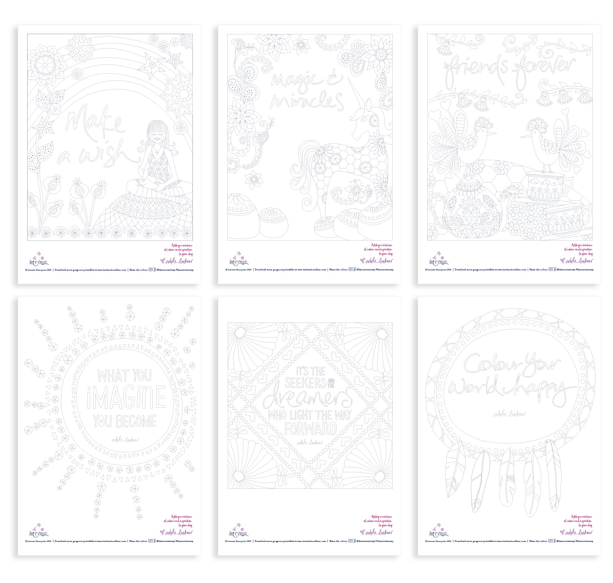 Intrinsic Mindfulness Colouring In Printables, New Designs