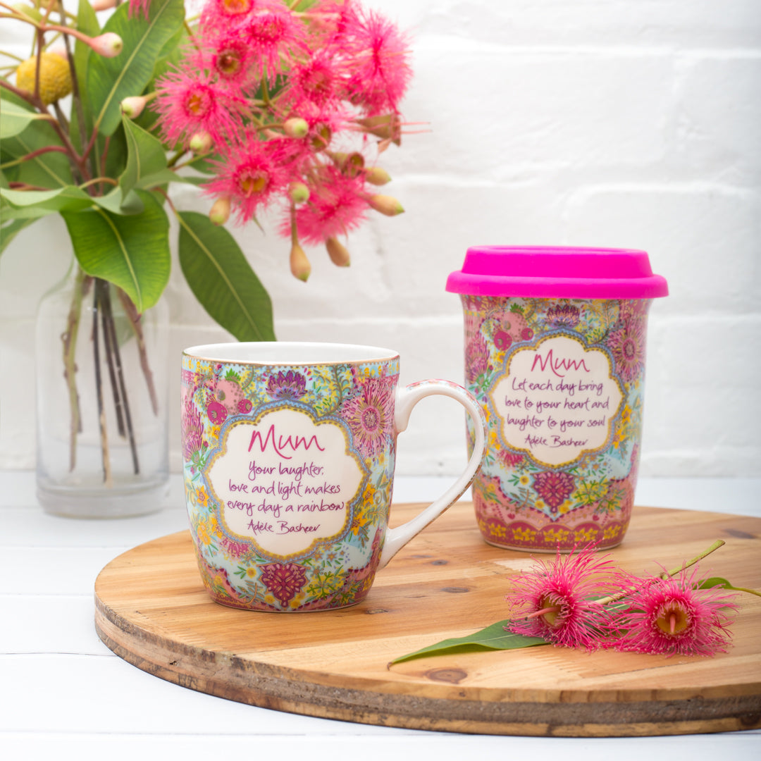 Intrinsic Mum Botanical Flower Collection Travel Cup and Ceramic Mug