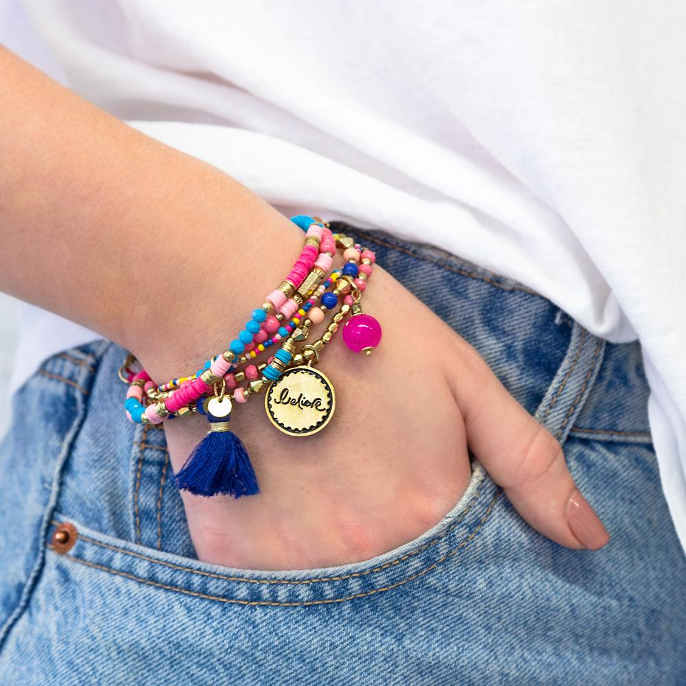 Intrinsic Colourful Pink and Blue Boho Jewellery Accessories