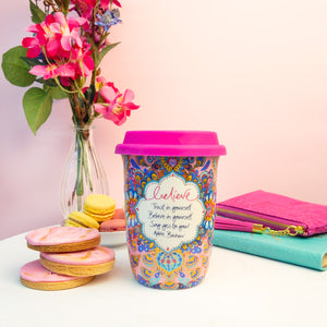 Intrinsic Pink and Blue Ceramic Reusable Travel Cup with Inspirational Quote from Adele Basheer