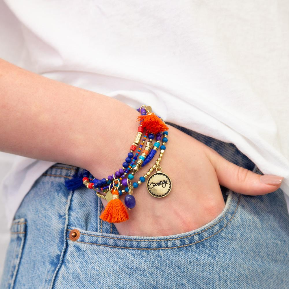 Intrinsic orange and blue boho arm candy bracelet stack