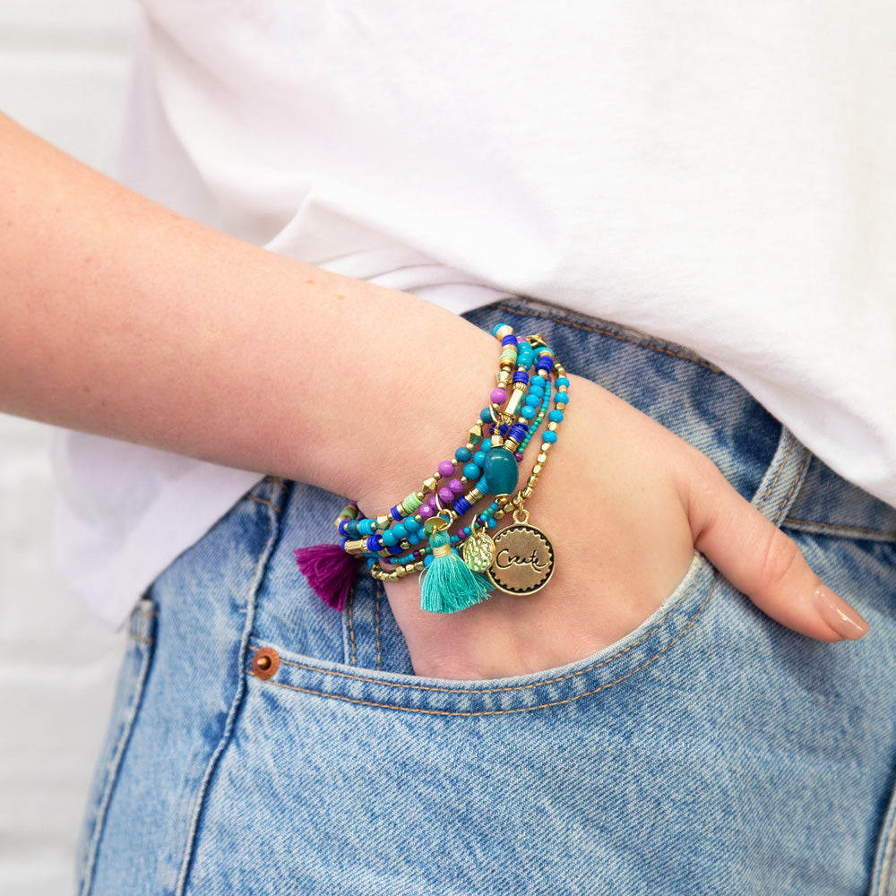 Intrinsic Tahitian Turquoise Charm Bracelet Stack - Inspirational Jewellery