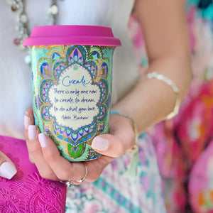 Intrinsic Hot Pink & Turquoise Coffee Travel Cup