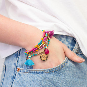 Purple and Blue Beaded Bliss Charm Bracelet Stack