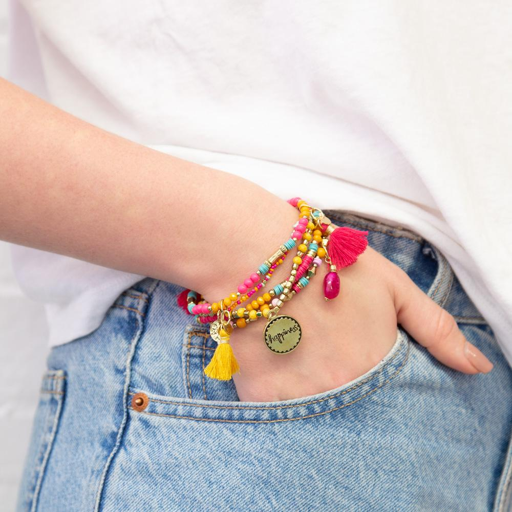 Yellow and Hot Pink Boho Arm Candy Bracelet Jewellery Stack