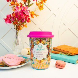 Intrinsic Colourful Turquoise Ceramic Travel Coffee Cup with Hot Pink Lid