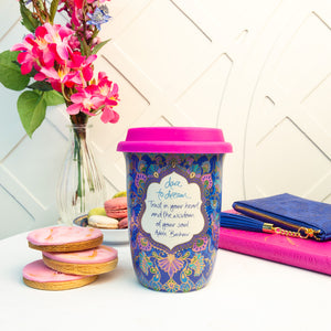 Intrinsic Blue Boho Ceramic Reusable Travel Cup