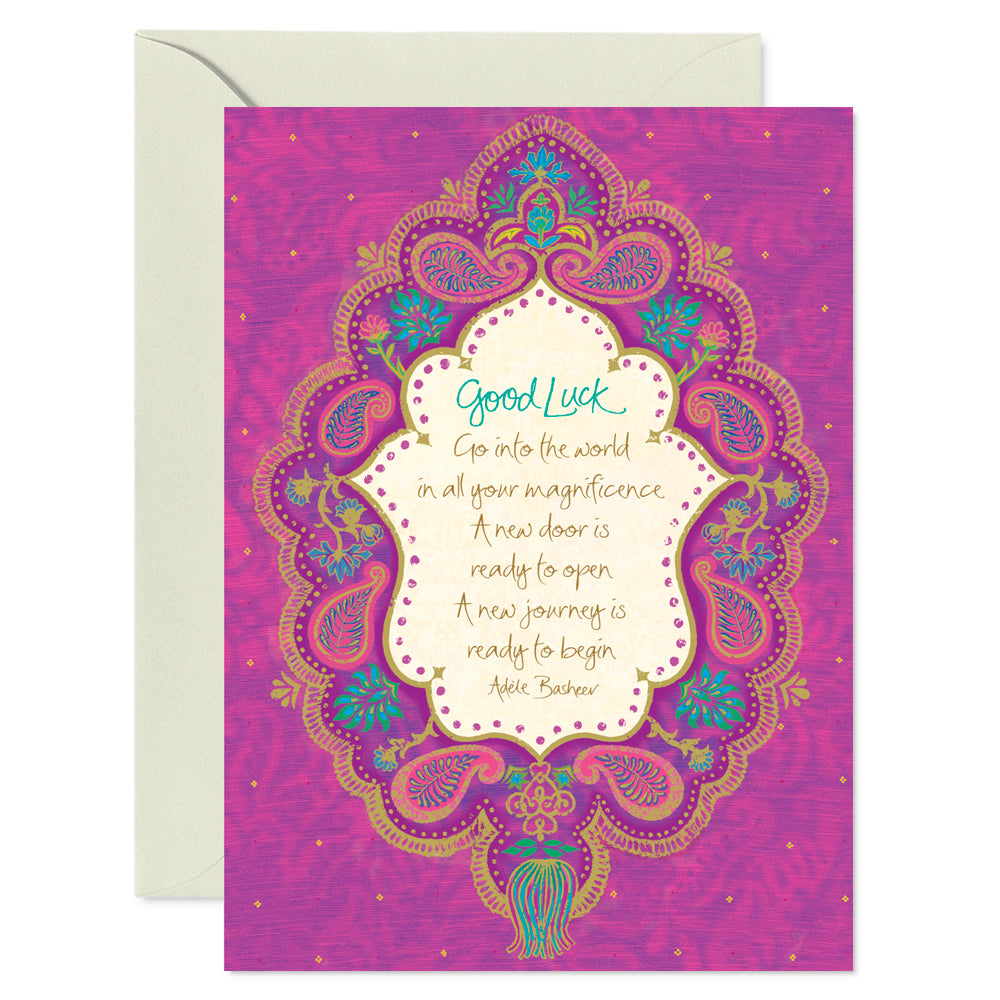 Purple Boho Good Luck Greeting Card