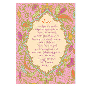 Pink Greeting Card for Mothers Day and Mums