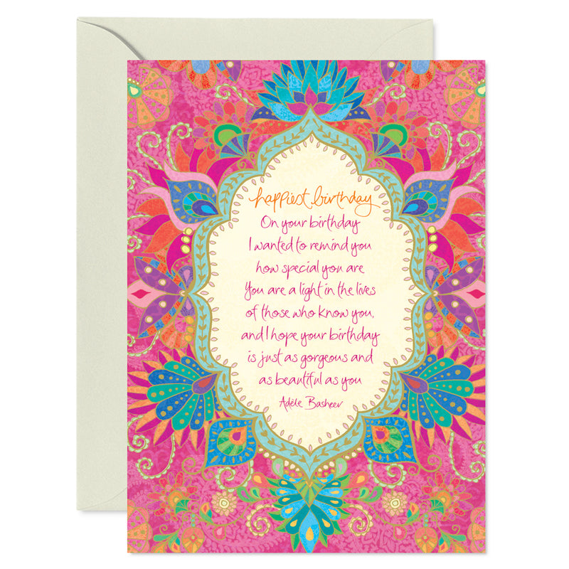 Pink Boho Birthday Card with Adele Basheer Message