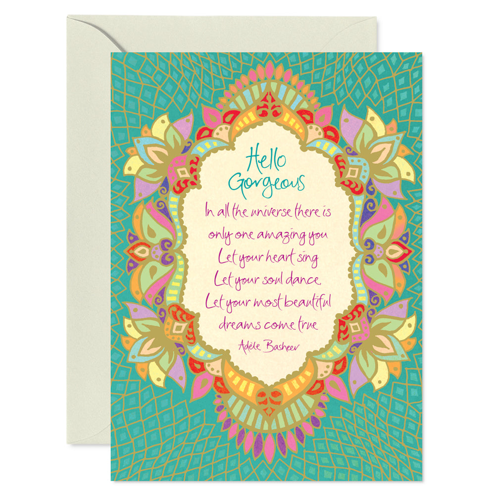 Intrinsic Boho Hello Gorgeous Greeting Card