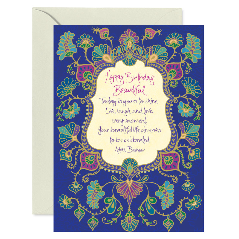 Happy Birthday Beautiful Illustrated Greeting Card