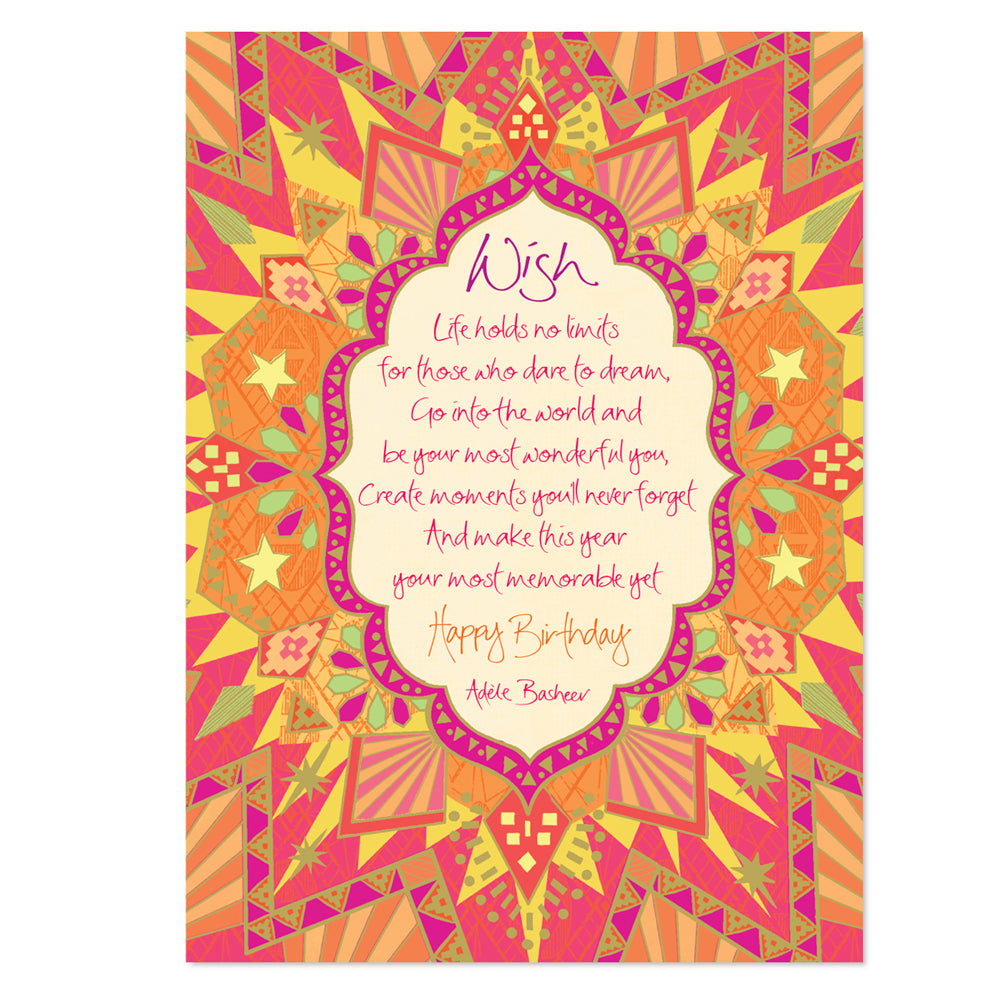 Orange Illustrated Birthday Greeting Card