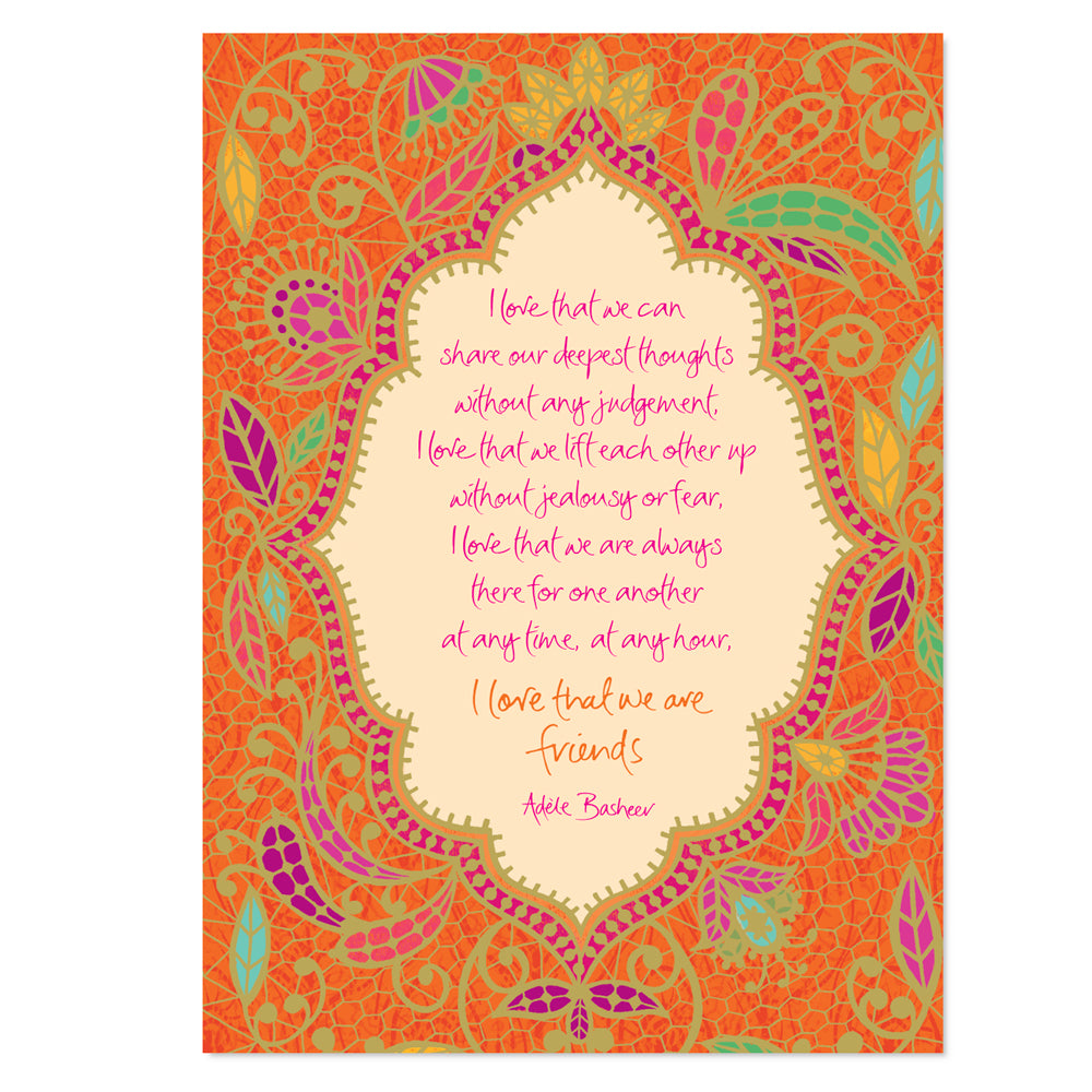 Orange Friendship Greeting Card with Adele Basheer Message
