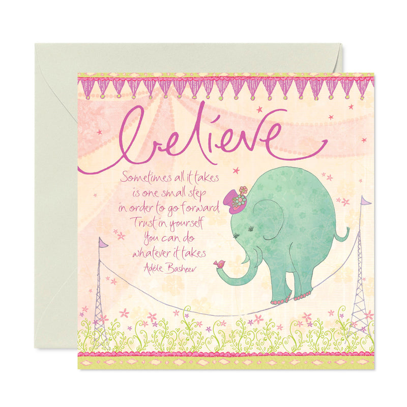 Intrinsic Believe Elephant Inspirational Greeting Card