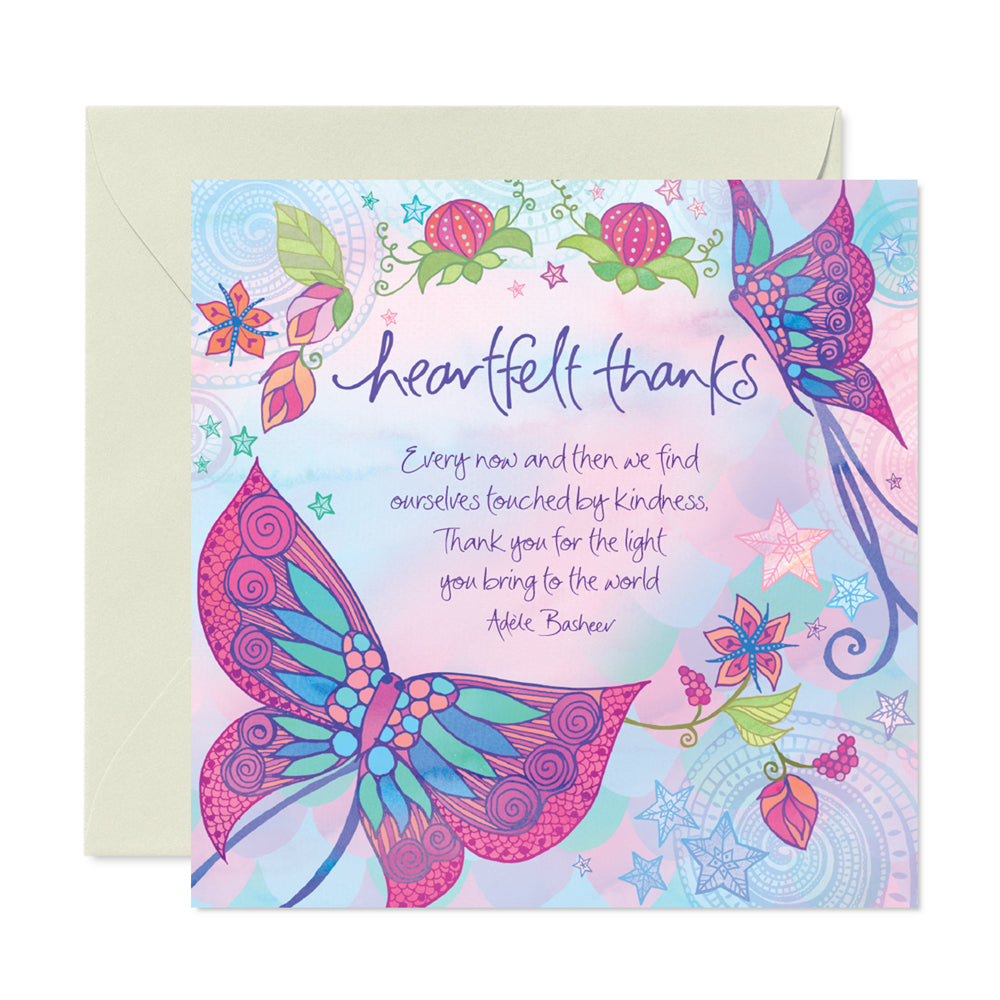 Purple Heartfelt Thanks Greeting Card By Adele Basheer
