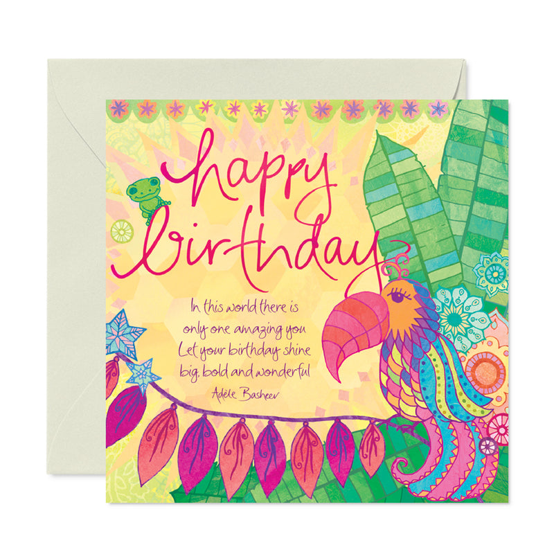 Intrinsic Tropical Illustrated Birthday Greeting Card