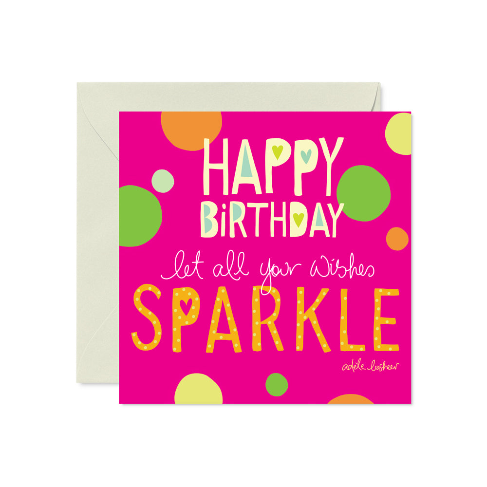 Pink Adele Basheer Birthday Sparkles Card