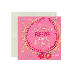 Pink Wedding Wishes Greeting Card