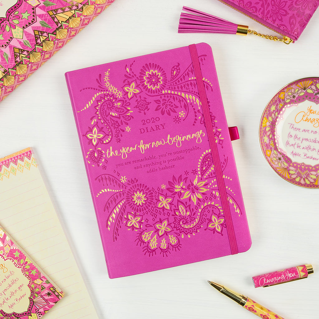 2020 Intrinsic Magenta Pink Diary, Planner and Journal with inspirational quotes and motivating tools