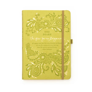 Intrinsic Adèle Basheer Sage Green 2021 Inspirational Diary and Planner for new beginnings with Adèle Basheer inspirational words