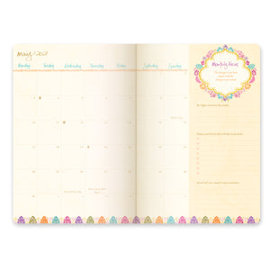 Intrinsic Joy and Happiness 2021 Diary Monthly Calendar Spread with monthly intention setting