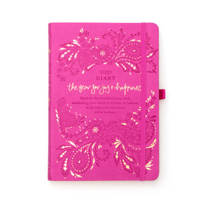Intrinsic Adèle Basheer Mystic Magenta Pink 2021 Diary and Planner with Inspirational Quotes - a year for joy and happiness